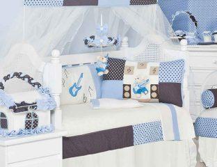 kit berço urso musical azul marinho