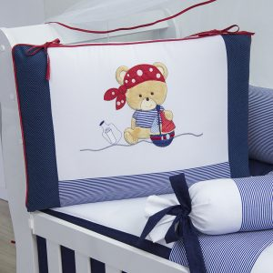 kit berço urso pirata azul marinho