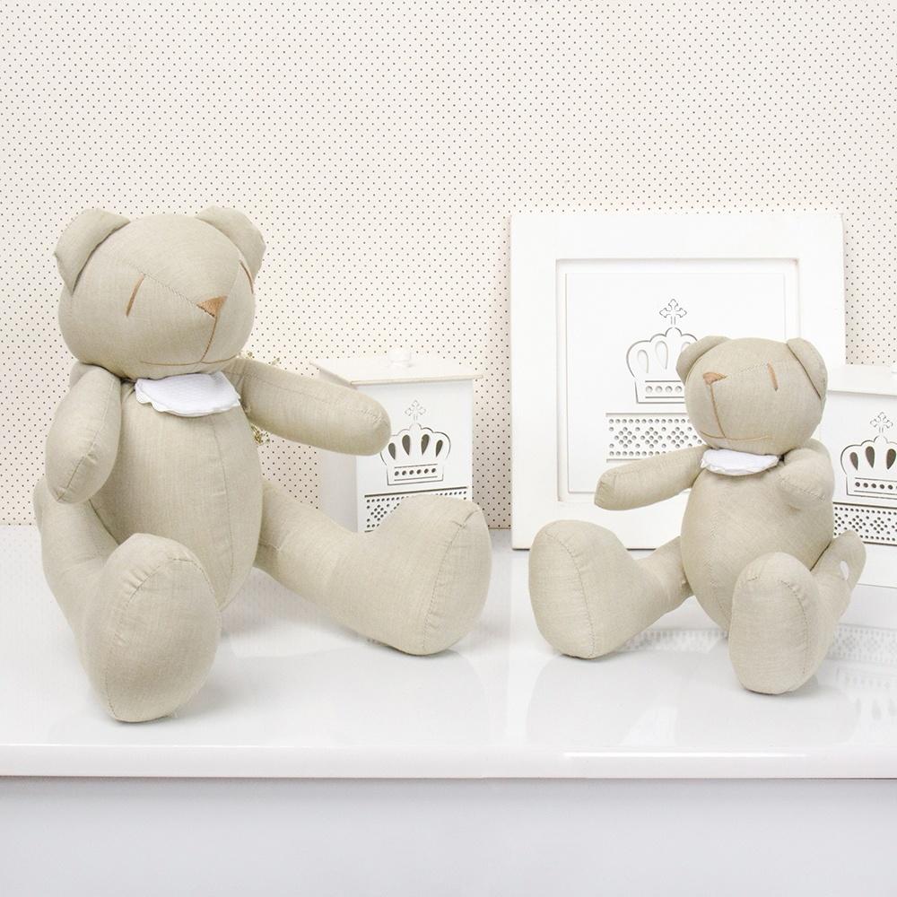 Ursos Chambrê Bege com Babador | Ref 45529 - graodegente.com.br