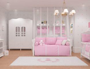quarto de bebe realeza rosa premium