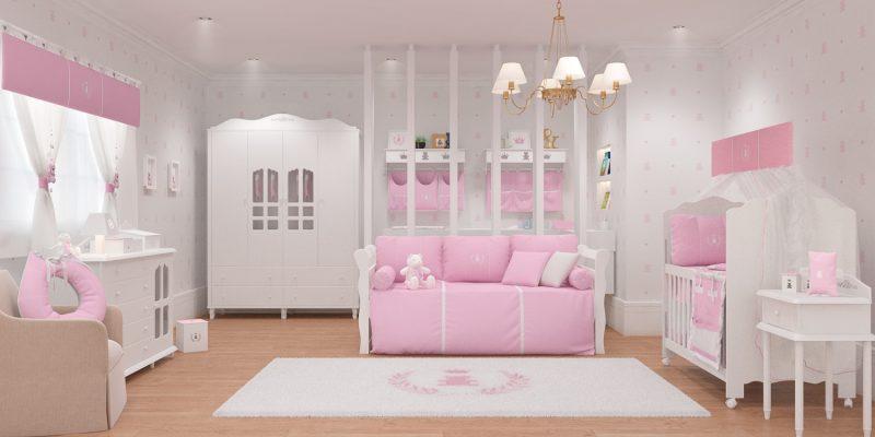 quarto de bebê Realeza - kit berço rosa e branco