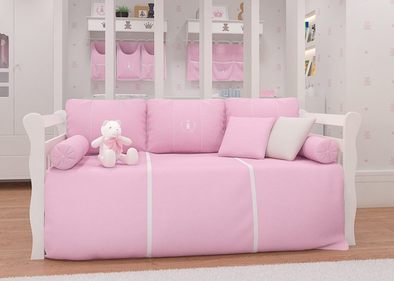 quarto de bebê realeza rosa - kit cama babá