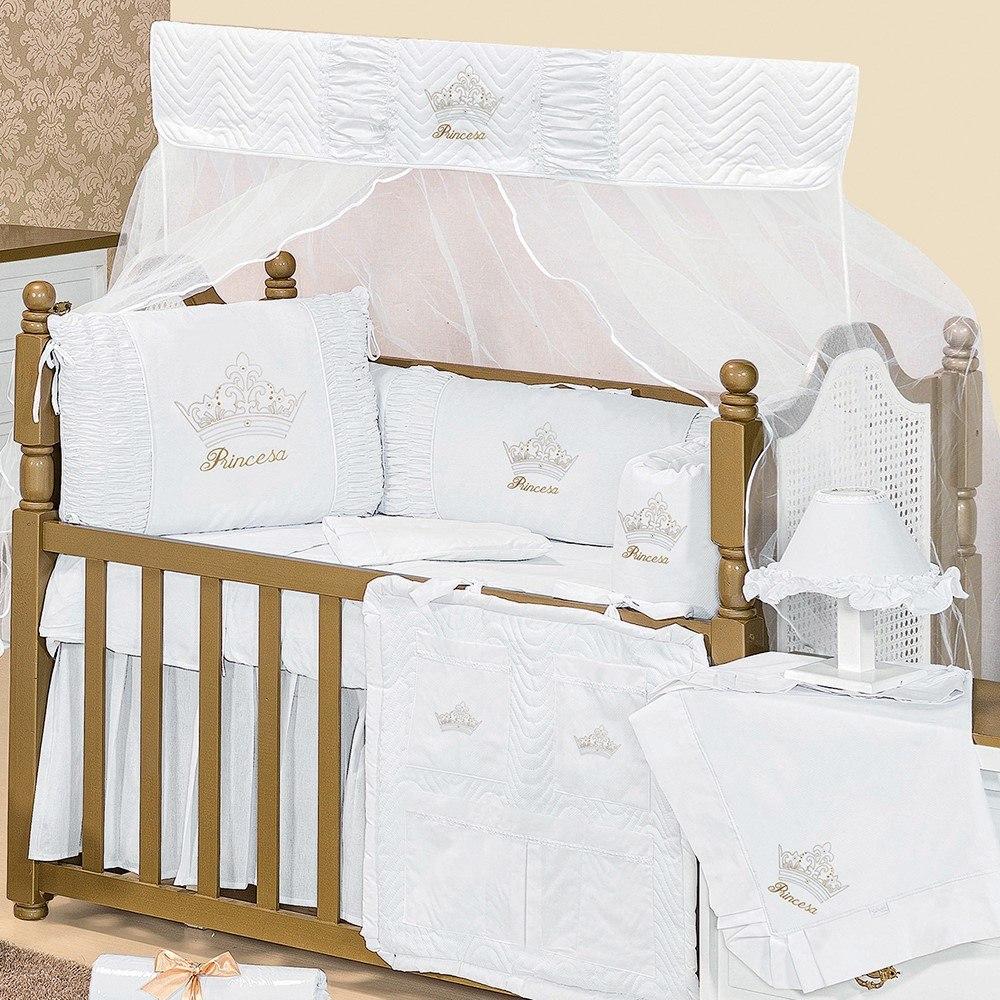 kit Berço branco Princesinha Dourada