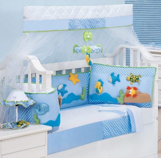 kit berço azul modelo aquario