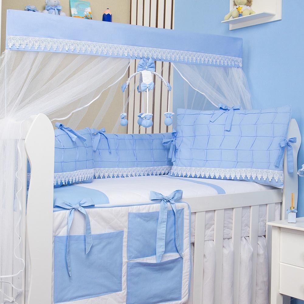 kit berço azul modelo luxo azul