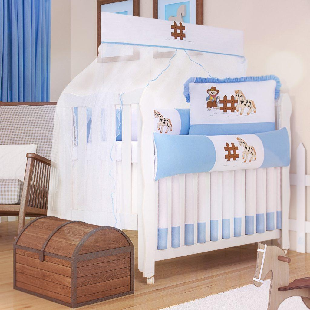 Kit Berço Cowboy, kit berço azul para quarto de bebê country
