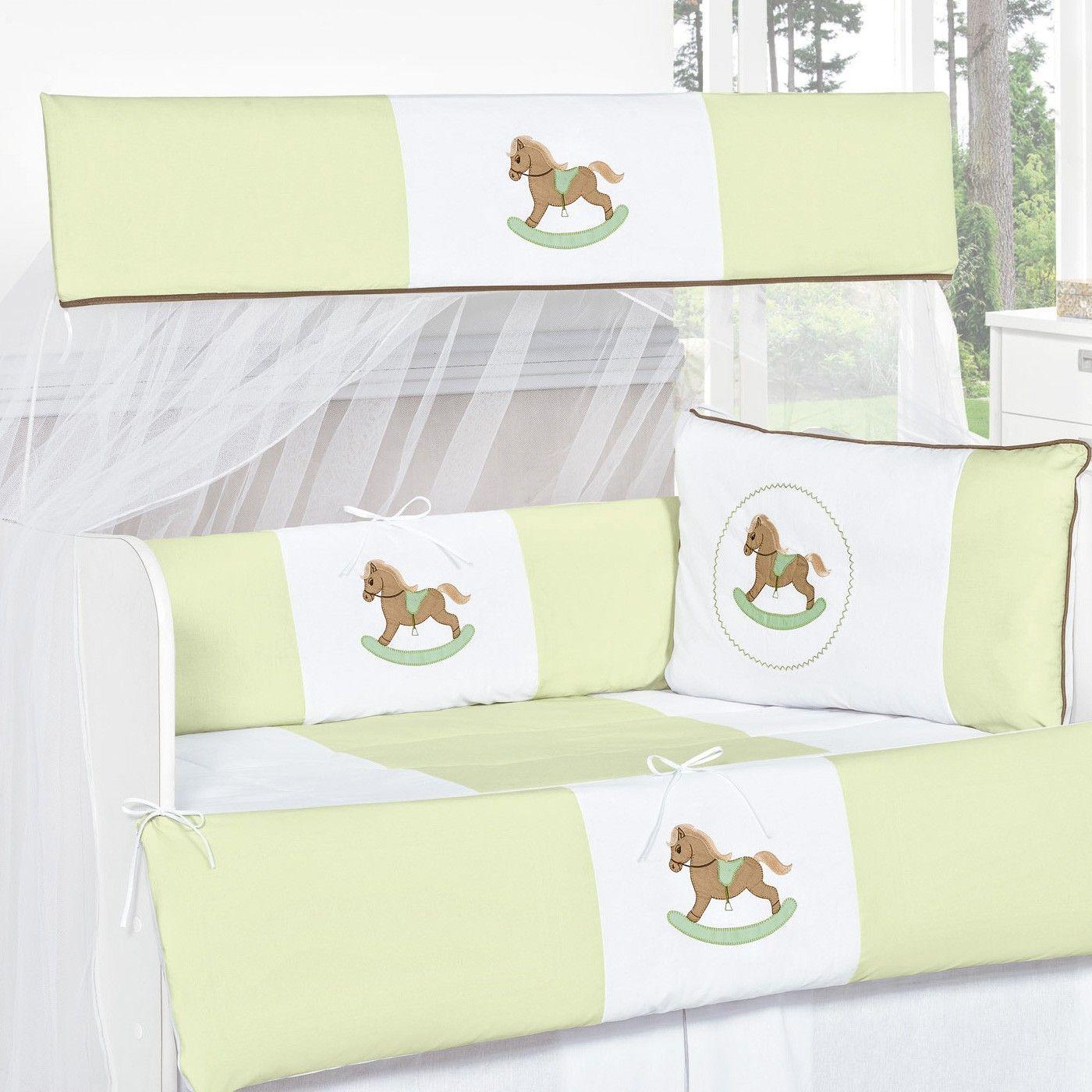 kit berço verde cavalinho