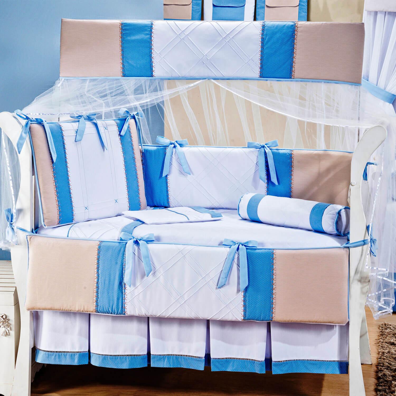 kit berço de percal Bambini Azul
