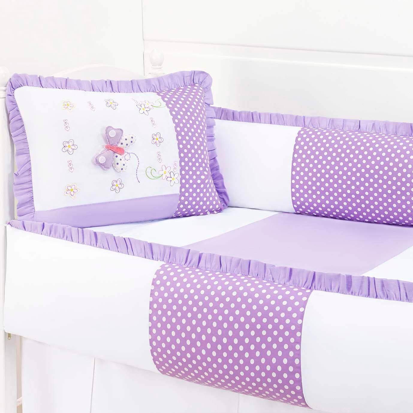 kit berço com borboletas lilás com poá