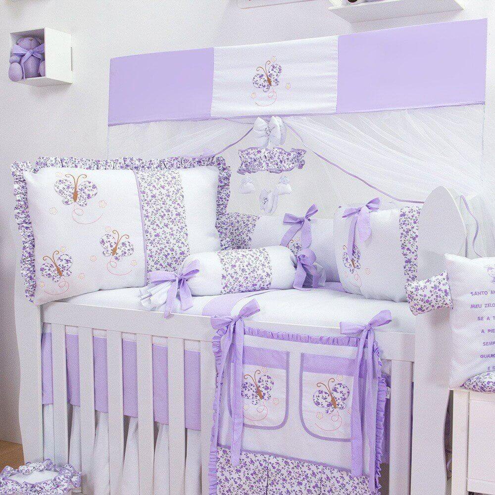 kit berço com borboletas lilás