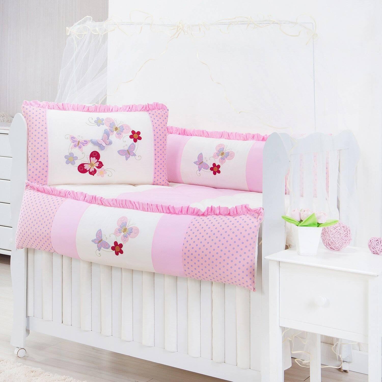 kit berço com borboletas rosa com poá