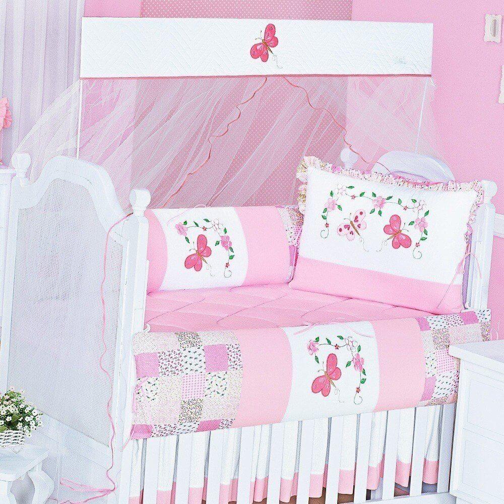 kit berço com borboletas patchwork rosa