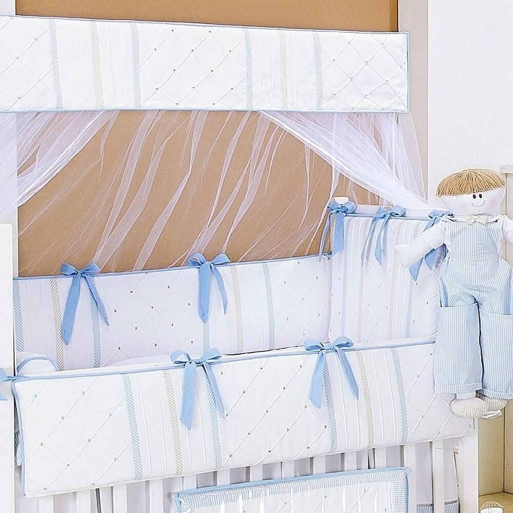 kit berço de percal Guto Azul Bebê