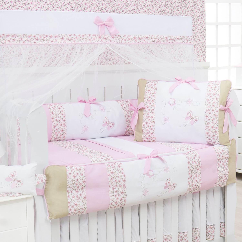 kit berço com borboletas rosa com cáqui
