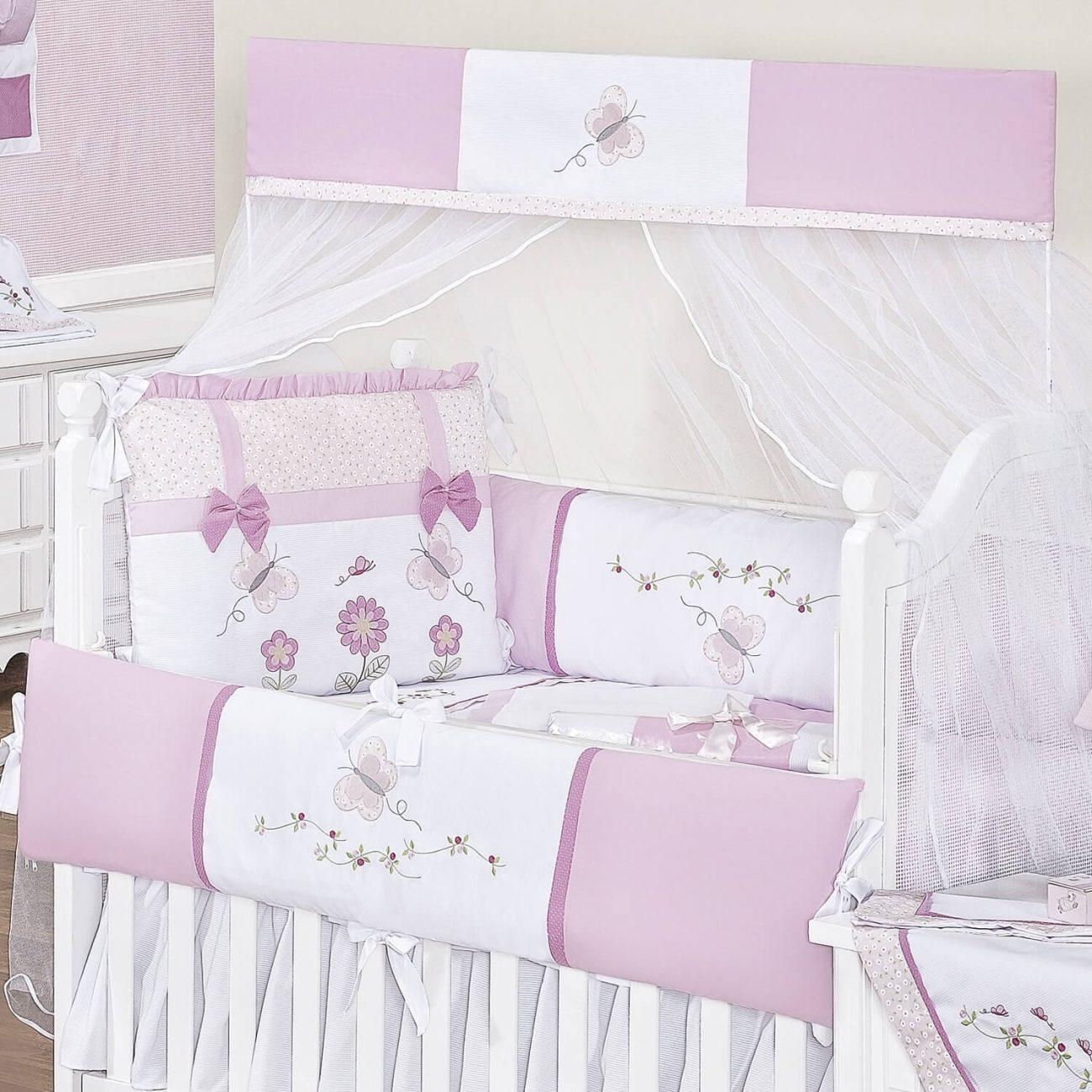 kit berço com borboletas rosa e pink