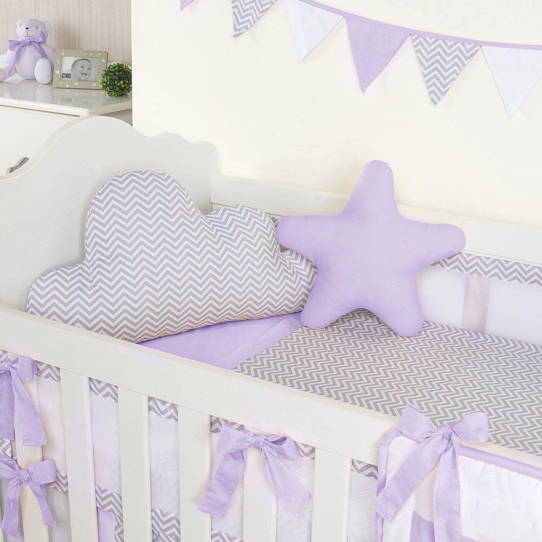 kit berço de tela lilás