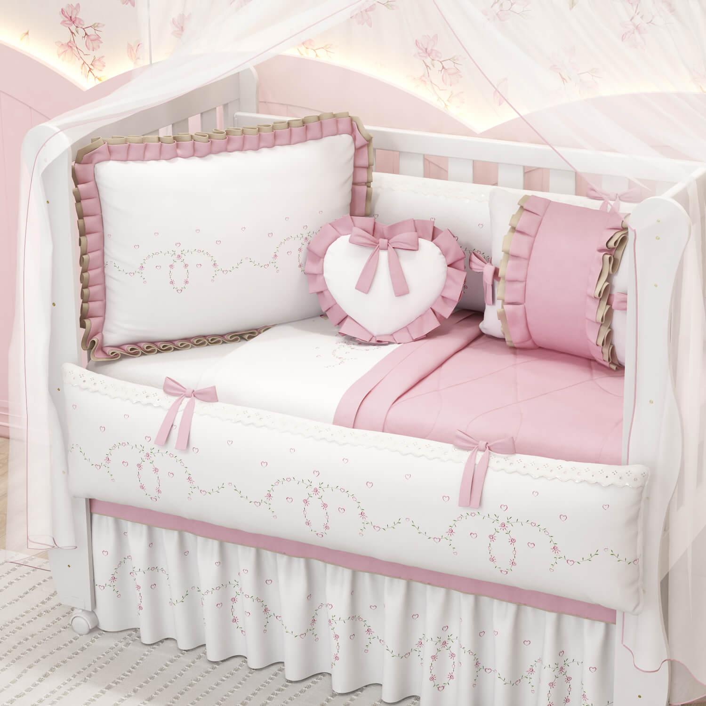 kit berço com coração alice rosa
