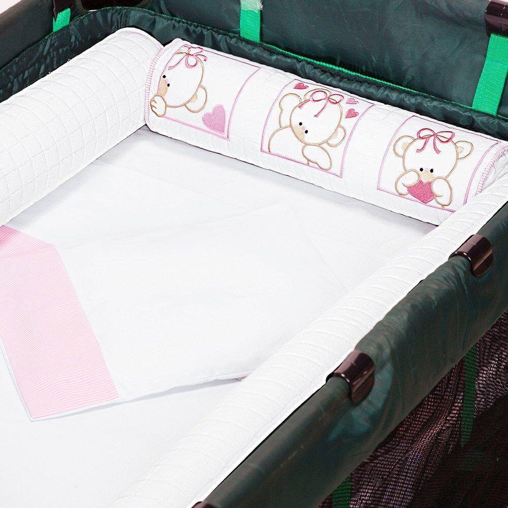 kit berço com coração desmontavel rosa