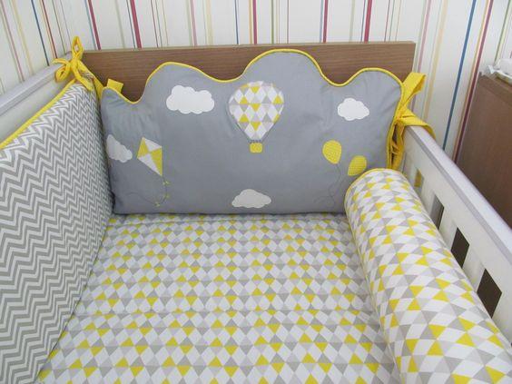 kit berço amarelo balão