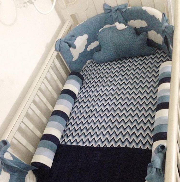 kit berço de tricô oval azul