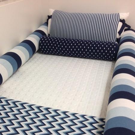 kit berço azul marinho de trico