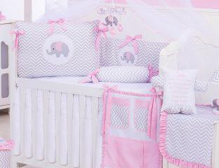 kit berço chevron rosa