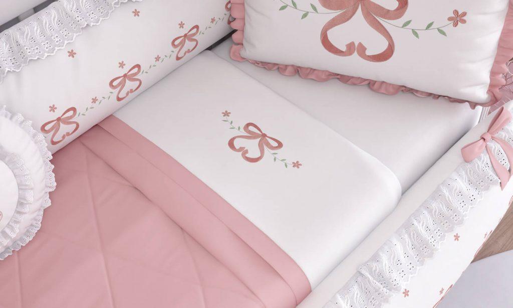 kit berço rosé