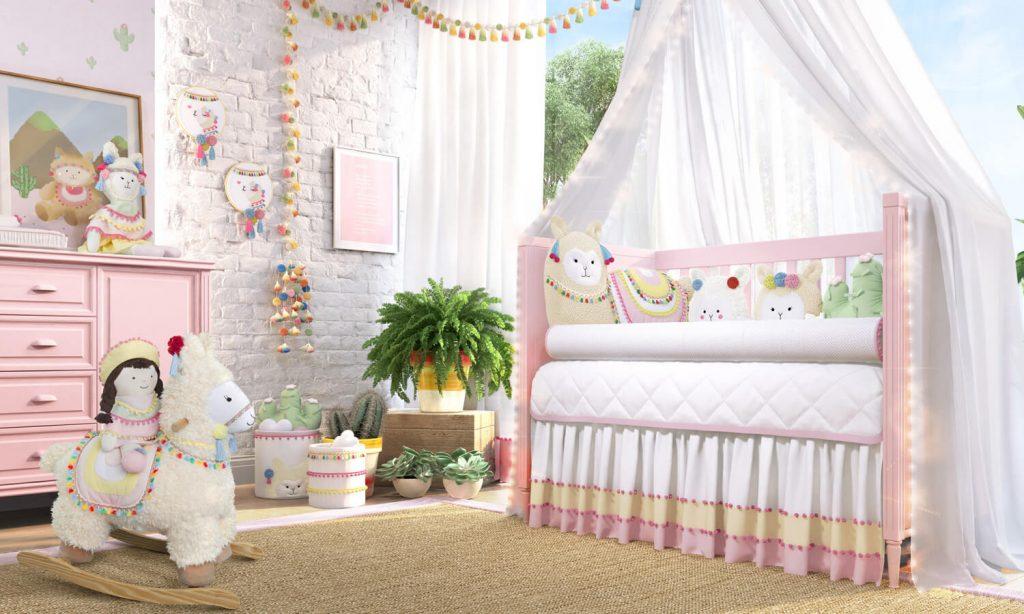 72dc3fa09157d kit berço lhama. Amiguinhas Lhamas é a nova coleção da linha Sabrina Sato  Mom para decoração do quarto de bebê.