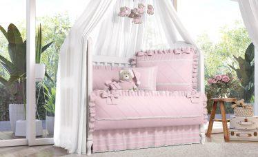kit berço rosa clássico